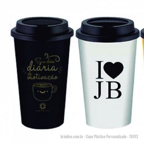 b9cd13909 Copo plástico ou acrílico personalizado - Copo para café 500 ml sem luva  personalizado com gravação