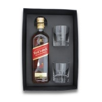 Kit whisky Personalizado | Kit Red Label com 2 Copos - ALLURY BRINDES